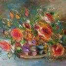 Roses Original Oil Painting Still Life Impasto Orange Flowers Bouquet Palette Knife Fine Art