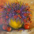 Still Life Original Oil Painting Purple Orange Wild Flowers Fruits Impasto Palette Knife Fine Art