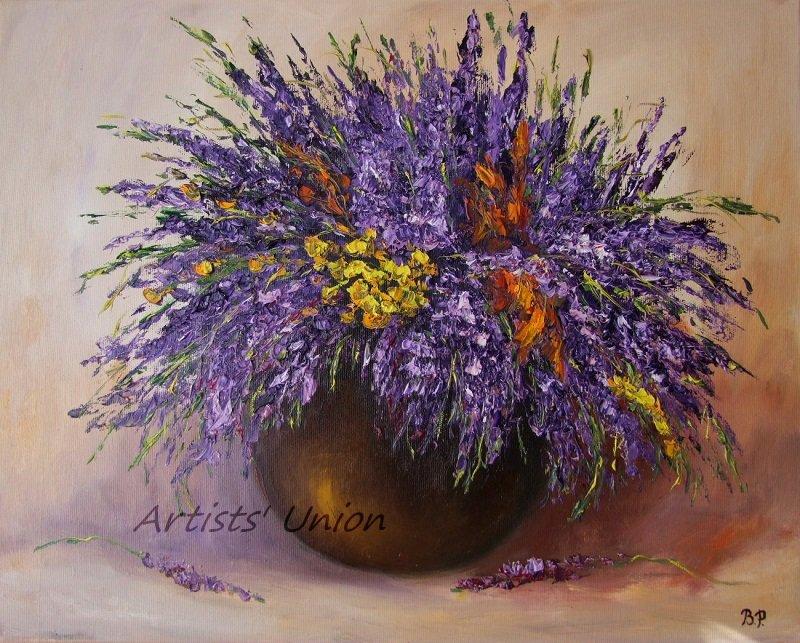 Purple Wild Flowers Original Oil Painting Still Life Impasto Lavender Palette Knife Fine Art