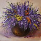 Purple Wild Flowers Original Oil Painting Still Life Impasto Lavender Palette Knife Fine Art