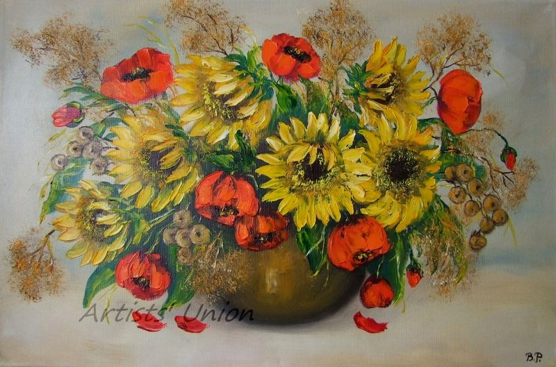 Sunflowers Original Oil Painting Red Poppies Impasto Still Life Palette Knife Textured Fine Art