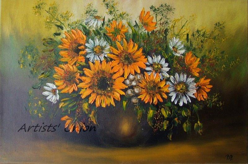 Sunflowers Original Oil Painting White Daisies Impasto Still Life Palette Knife Textured Fine Art