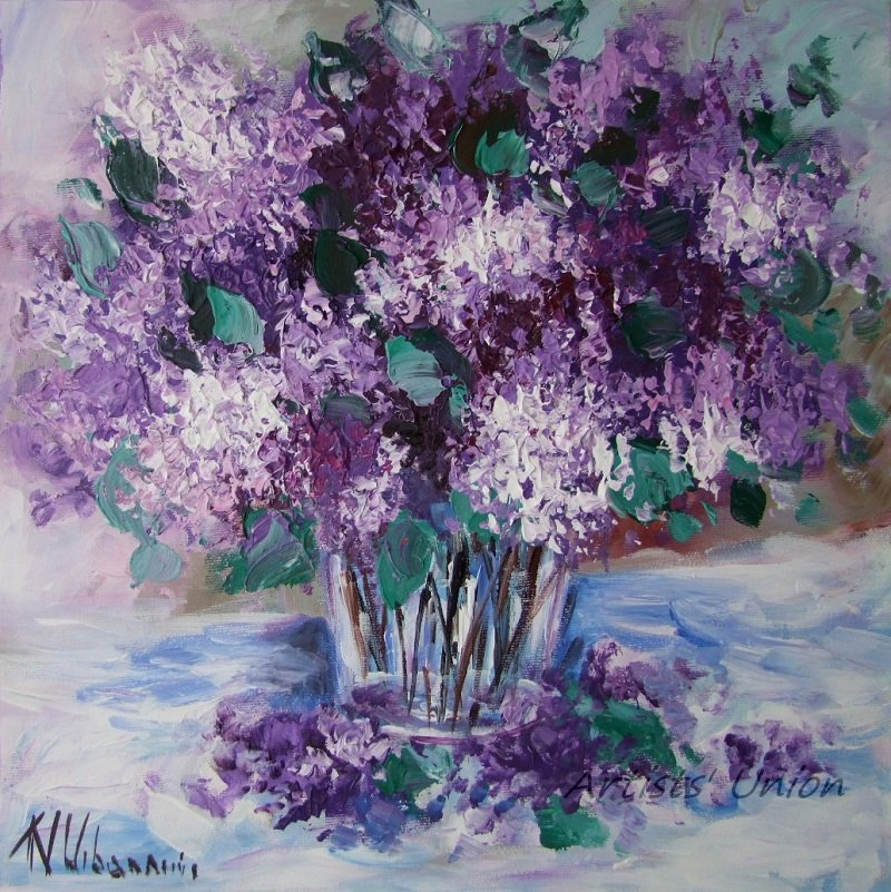 Purple Lilacs Original Oil Painting Still Life Impasto Palette Knife Fine Art Flowers Glass Vase