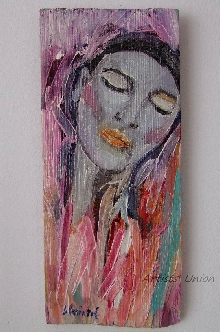 Woman Original Oil Painting Portrait Wood Modern Figurative Fine Art Girl Pink Gray shabby chic tone