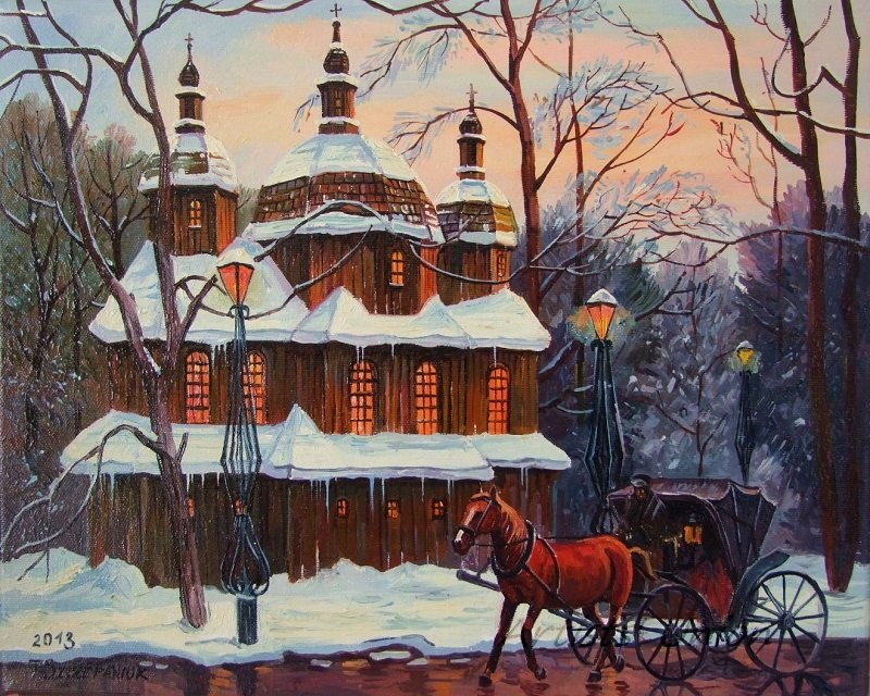 Horse Carriage Original Oil Painting Cityscape old wooden Church Park Forest Town Lamps Fine Art