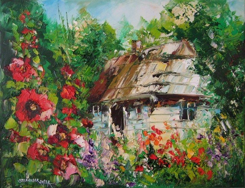 Cottage Mallows Garden Original Oil Painting Landscape Flowers Tree Impasto Art Malva