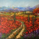 Tuscany Original Oil Painting Landscape Red Poppies Lavender Cypress Trees Palette Knife Art