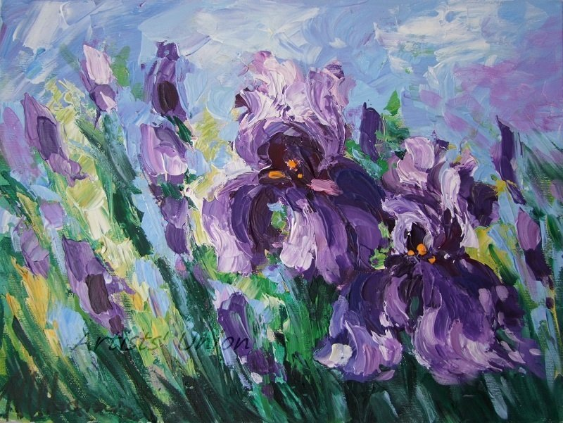 Purple Irises Original Oil Painting Meadow Flowers Fine Art Delicate Paint Texture Floral