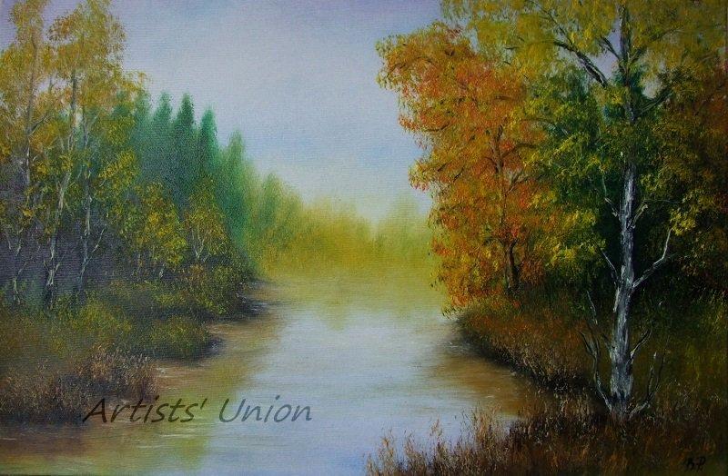 Autumn River Original Oil Painting Landscape Forest Fall Trees Palette Knife Fine Art Leaves