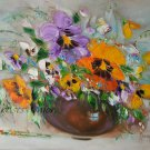 Still Life Original Oil Painting Wild Flowers Palette Knife Impasto Art Purple Orange