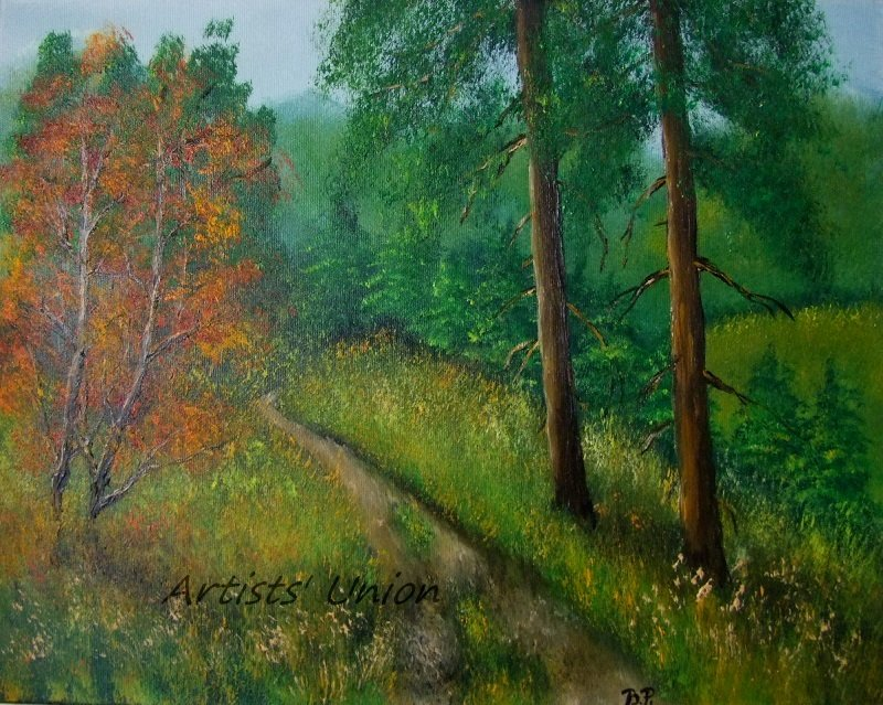 Landscape Original Oil Painting Forest Mountain Path Meadow Grass Autumn Trees
