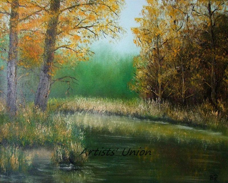 Autumn Landscape Original Oil Painting Wetlands Fall Forest Grass Trees Fine Art Offer