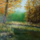 Autumn Landscape Original Oil Painting Wetlands Fall Forest Grass Trees Fine Art Offer