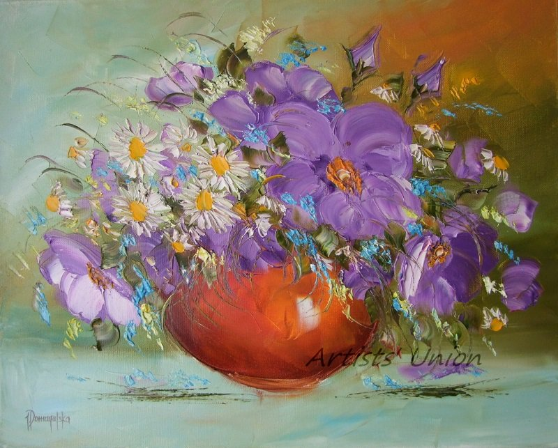 Still Life Purple Flowers Original Oil Painting Palette Knife Impasto White Daisies Fine Art