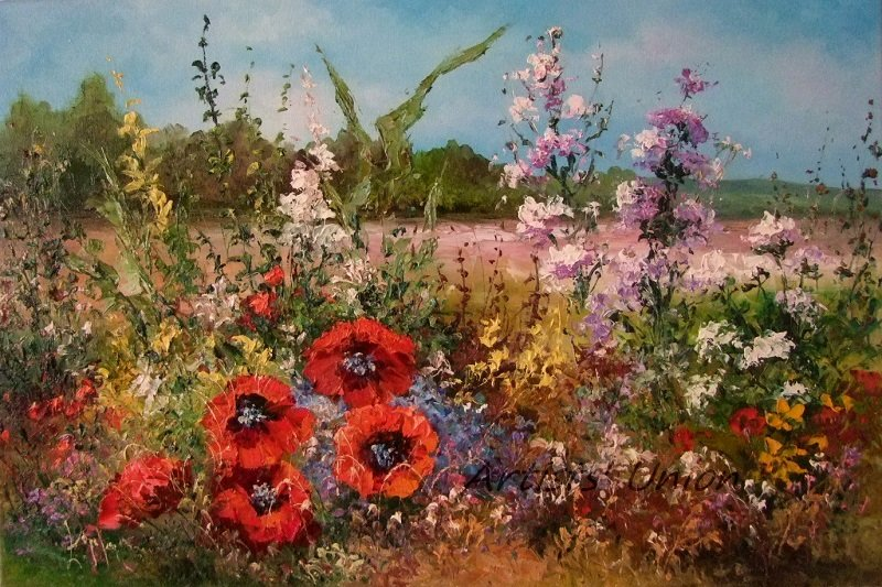 Meadow Original Oil Painting Red Poppies Palette Knife Impressionism Impasto Landscape Wild Flower