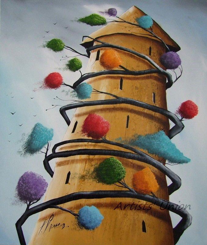 P. Sliwka Abstract Original Oil Painting Tree of Life Surrealism Contemporary Fine Art Modern Nature