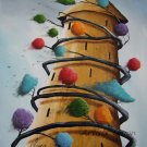 P. Sliwka Abstract Original Oil Painting Tree of Life Surrealism Contemporary Fine Art Modern Nature