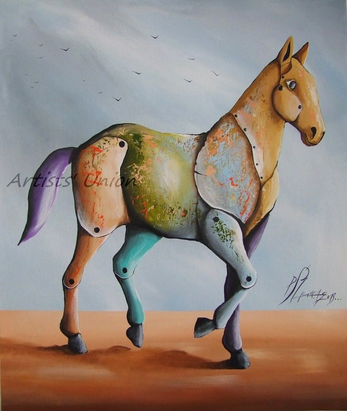 Contemporary Horse Original Oil Painting by P. Sliwka Cubism Modern Art Forms Animal Surrealism Big