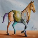 Contemporary Horse Original Oil Painting by P. Sliwka Cubism Modern Art Forms Animal Surrealism Big