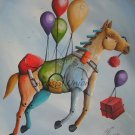 Flying Horse Modern Art Original Oil Painting Surrealist Cubist Contemporary Fine Art Baloons