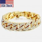 14mm Men's Bracelet Hip Hop Miami Cuban Link Gold Silver color Iced Out Paved