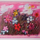 Abstract Meadow Original Acrylic Painting by Iantis Impasto Art Flowers Landscape Pink