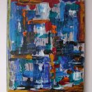 Contemporary Art Original Acrylic Painting Abstract Cityscape Modern Blue Palette Knife by Iantis