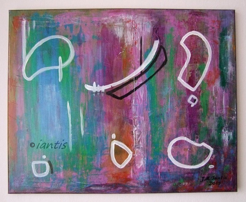 Abstract Original Acrylic Painting by Iantis Purple Contemporary Art Pink Blue Lost Civilization