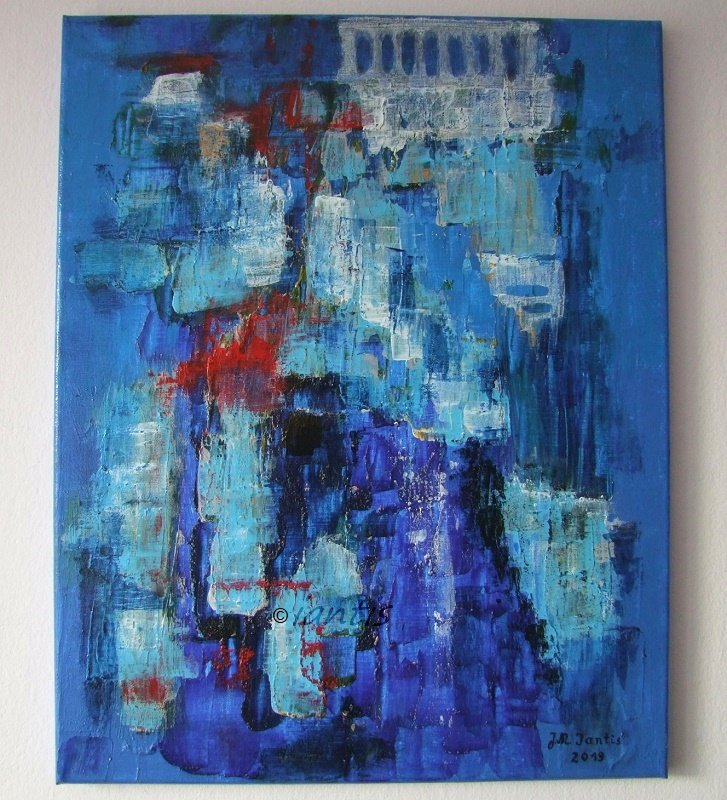Blue Landscape Original Abstract Painting Iantis Symbolism Acrylic Contemporary Fine Art Acropolis