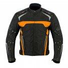 Orange Motorbike Racing Jacket Bikers Riding Cordura Textile Coat Armoured Waterproof