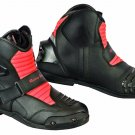 Motorbike Bike Racing Casual Leather Boots Red and Black Waterproof, Armoured