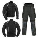 Motorbike/Motorcycle Riding Waterproof Suit Cordura Textile Jacket & Pant Black