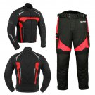 Motorbike Racing Cordura Suit Jacket Trousers Removable Armors Red