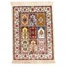 1.5'x2' Small Persian Silk Area Rug Handmade Oriental Carpet Mat Garden Scene Design