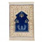 1.5'x2' Blue Handmade Silk Prayer Rug Oriental Carpet Mat