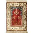 1.5'x2' Traditional Persian Carpet Handmade Silk Prayer Rug Red