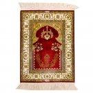 1.5'x2' Red Silk Prayer Rug Oriental Persian Carpet Mat