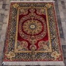 4'x6' Red Persian Carpet Silk Handmade Traditional Area Rug