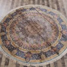 Round Rug 8ft Handmade Persian Silk Rug for Dining Room