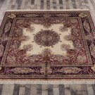 Square Rug 8ft Hand Knotted Tabriz Persian Silk Carpet