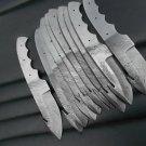 """8.5"""" Jon Miller Lot of 10 Hand Forged Damascus Steel Gut Hook Blank Blade Skinner For Knife Making"""