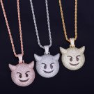New Iced Out Devil Emoji Hip Hop Pendant w/ Rope Chain Necklace
