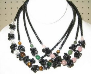HeMaTite Nugget Necklace with Semi-Precious Beads