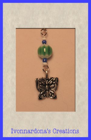 Irises Jet Glass and Silver Butterfly