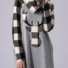 Women's Gray Turtleneck Reindeer Printed Plaid Shirt - 2X-LARGE