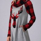 Women's Red Turtleneck Reindeer Printed Plaid Shirt - SMALL