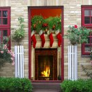 Cozy Fire Place with Christmas Stockings , Christmas Printed Door Decal