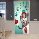 Snowman and Ornaments Printed Christmas Door Decal