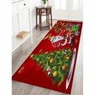 "16"" x 47"" Red Christmas Tree and Santa Printed Decorative Area Rug"
