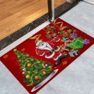 "16"" x 24"" Red Christmas Tree and Santa Printed Decorative Door Mat"